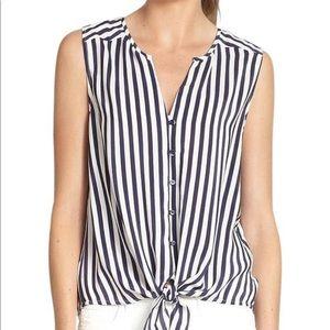 Blue Tyson Silk Striped Waist-tie Shirt Blouse